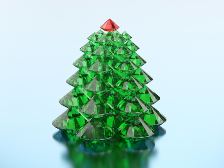 3D illustration group of green diamond christmas tree with a red star on a blue background