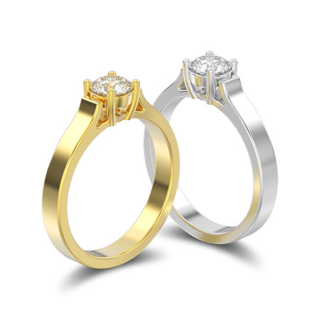 3D illustration isolated two yellow and white gold or silver  solitaire engagement diamond rings with shadow on a white background