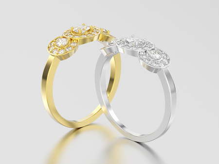 3D illustration two yellow and white gold or silver three stone solitaire engagement rings on a gray background Stock Photo