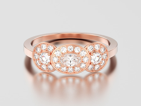 3D illustration rose gold three stone solitaire engagement ring on a gray background