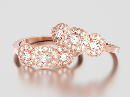 3D illustration two rose gold three stone solitaire engagement rings on a gray background