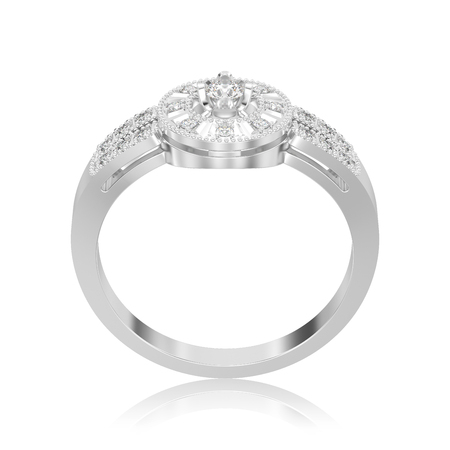 3D illustration isolated white gold or silver decorative diamond ring with reflection on a white background