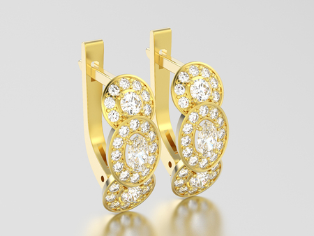 3D illustration yellow gold three stone solitaire  diamond earrings with hinged lock on a grey background Standard-Bild