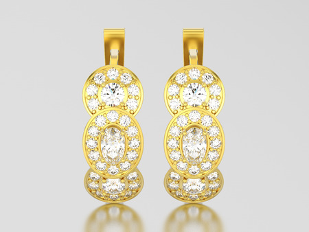 3D illustration yellow gold three stone solitaire  diamond earrings with hinged lock on a grey background Stock Photo