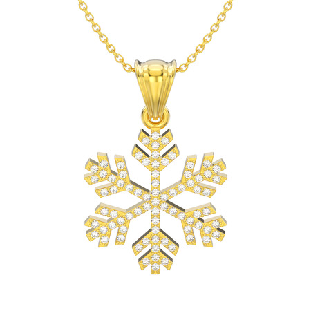 3D illustration isolated yellow gold diamond snowflake necklace and chain on a white background Stock Photo