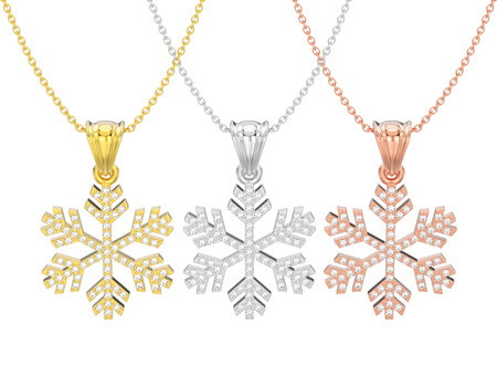 3D illustration isolated three rose, yellow and white gold diamond snowflake necklace and chain on a white background Stock Photo