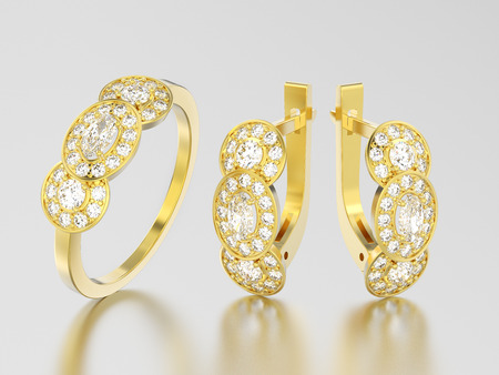 3D illustration set of yellow gold decorative diamond earrings with hinged lock and three stone solitaire engagement ring on a grey background