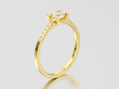 3D illustration yellow gold engagement round cut shape ring with diamond on a gray background