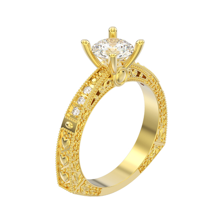 3D illustration isolated yellow gold decorative diamond ring with ornament and hearts on a white background 스톡 콘텐츠