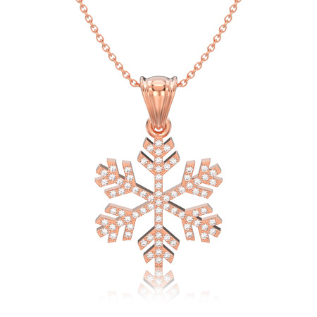 3D illustration isolated rose gold diamond snowflake necklace and chain with reflection on a white background