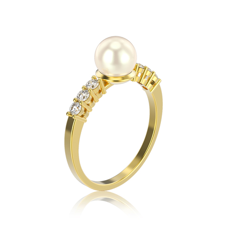 3D illustration isolated yellow gold diamond ring with pearl with reflection on a white background