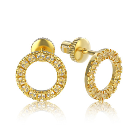 3D illustration isolated yellow gold diamond round stud earrings with reflection on a white background