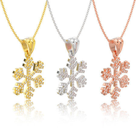 3D illustration isolated three rose, yellow and white gold diamond snowflake necklace and chain with reflection on a white background Stock Photo