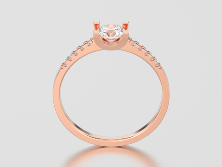 3D illustration rose gold engagement round cut shape ring with diamond on a gray background