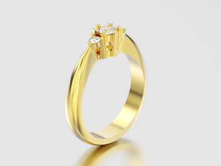3D illustration yellow gold three stone diamond ring on a gray background