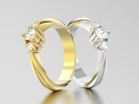 3D illustration two yellow and white gold or silver three stone diamond rings on a gray background