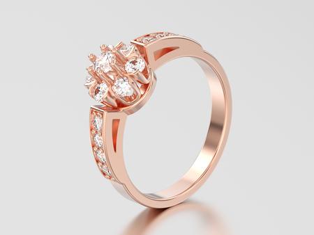 3D illustration rose gold decorative flower diamond ring on a gray background