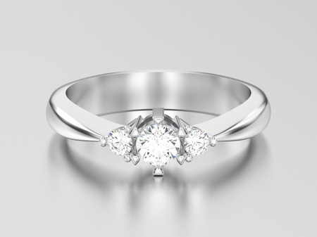 3D illustration white gold or silver three stone diamond ring on a gray background