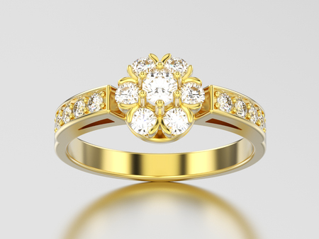 3D illustration yellow gold decorative flower diamond ring on a gray background Stock Photo