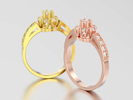 3D illustration two yellow and rose gold decorative flower diamond rings on a gray background 스톡 콘텐츠