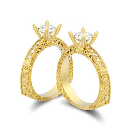3D illustration isolated two yellow gold decorative diamond rings with ornament and hearts with shadow on a white background Stock Photo