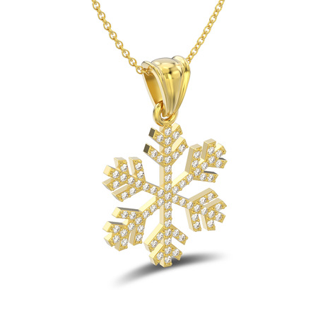 3D illustration isolated yellow gold diamond snowflake necklace and chain with shadow on a white background Stock Photo
