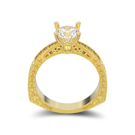 3D illustration isolated yellow gold decorative diamond ring with ornament and hearts with shadow on a white background