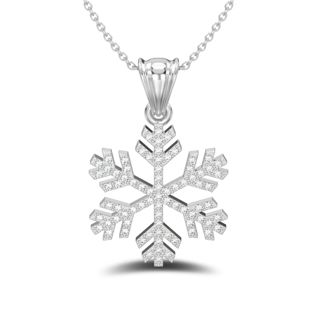 3D illustration isolated white gold or silver diamond snowflake necklace and chain with shadow on a white background