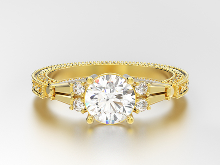 3D illustration yellow gold decorative diamond ring with  ornament on a gray background
