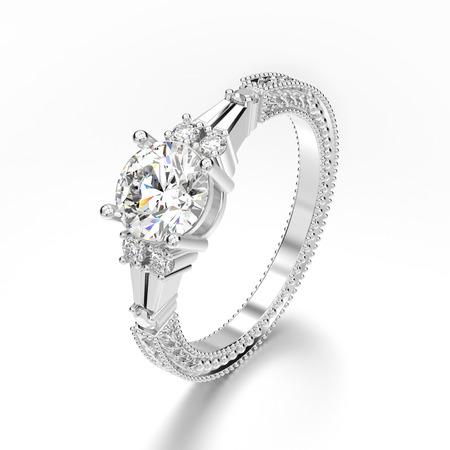3D 그림 회색 배경에 장식 된 화이트 골드 또는 실버 장식 다이아몬드 반지