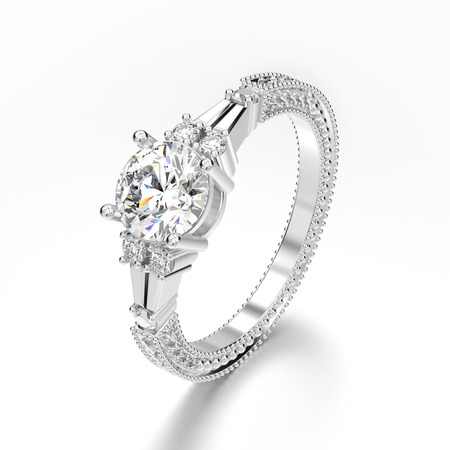 3D illustration white gold or silver decorative diamond ring with  ornament on a gray background