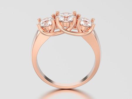 3D illustration rose gold three stone diamond ring on a gray background