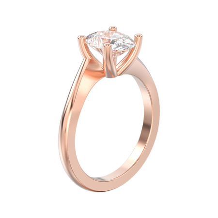 3D illustration isolated rose gold engagement illusion twisted ring with diamond on a white background