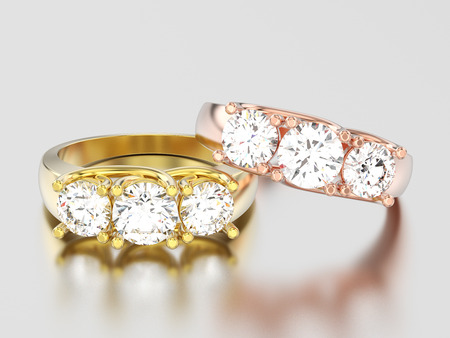 3D illustration two yellow and rose gold three stone diamond rings on a gray background