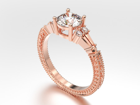 3D illustration rose gold decorative diamond ring with  ornament on a gray background