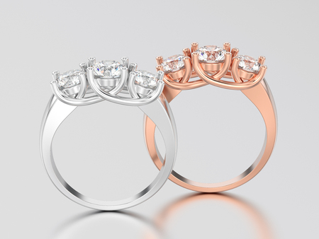 3D illustration two rose and white  gold or silver  three stone diamond rings on a gray background