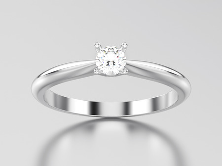 3D illustration white gold or silver traditional solitaire engagement diamond ring on a gray background