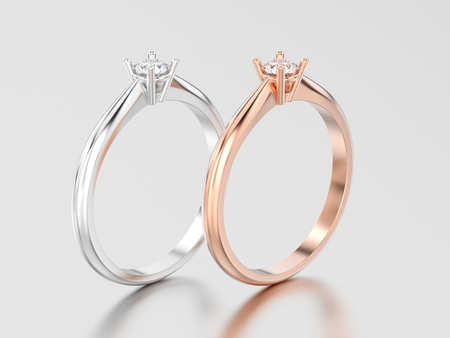 3D illustration two rose and white gold or silver traditional solitaire engagement diamond ring on a gray background