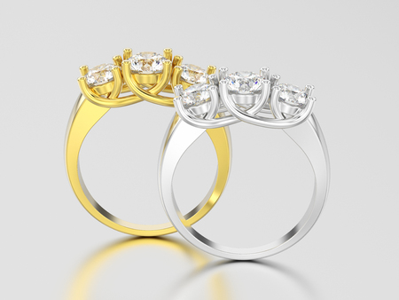 3D illustration two yellow and white gold or silver  three stone diamond rings on a gray background Stock Photo