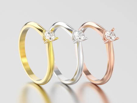 3D illustration three rose, yellow and white gold or silver traditional solitaire engagement diamond ring on a gray background Stock Photo