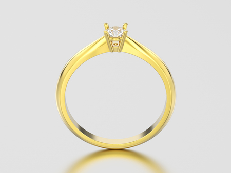 3D illustration yellow gold traditional solitaire engagement diamond ring on a gray background
