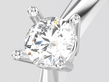 3D illustration close up white gold or silver traditional solitaire engagement diamond ring on a gray background Stock Photo