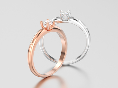 3D illustration two rose and white gold or silver traditional solitaire engagement diamond rings on a gray background