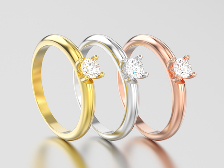 3D illustration three yellow, rose and white gold or silver traditional solitaire engagement diamond rings on a gray background