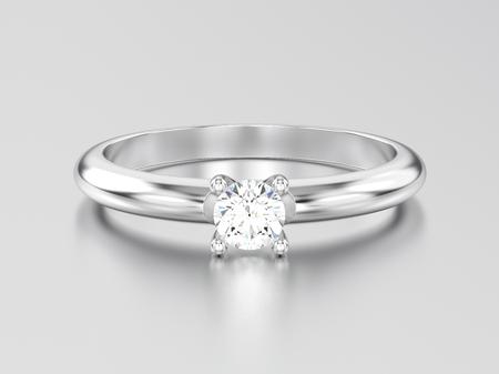 Ouro branco da ilustração 3D ou anel de diamante de prata do acoplamento do solitaire da prata em um fundo cinzento