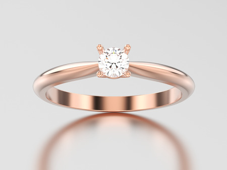 3D illustration rose gold traditional solitaire engagement diamond ring on a gray background