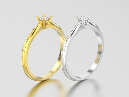 3D illustration two yellow and white gold or silver traditional solitaire engagement diamond rings on a gray background Stock Photo