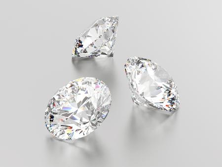 3D illustration three white round gemstones diamonds on a gray background Stock Photo