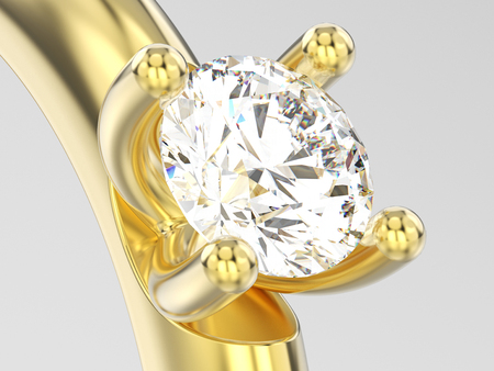 3D illustration close up yellow gold traditional solitaire engagement diamond ring on a gray background