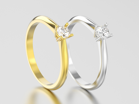 3D illustration two yellow and white gold or silver traditional solitaire engagement diamond rings on a gray background Foto de archivo